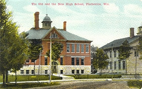 A 1905 postcard showing Platteville's first two high schools: the Rock School on the right which now houses the Mining Museum, and the Hanmer Robbins School on the left, which now houses the Rollo Jamison Museum exhibits and museum offices.