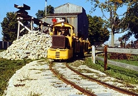 The 1931 Witcomb mine train in service at the museum in the 1980s.